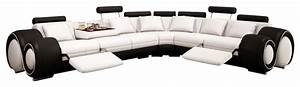Black and white leather sectional sofa with built in for Modern black leather sectional sofa with built in light