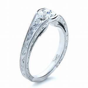 two tone hand engraved engagement ring 1191 With hand engraved wedding rings