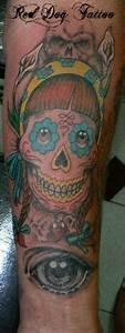 Dia De Los Muertos Skull Tattoo On Forearm