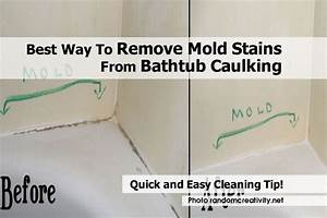 Best way to remove mold stains from bathtub caulking for Best way to clean mould off tile grout