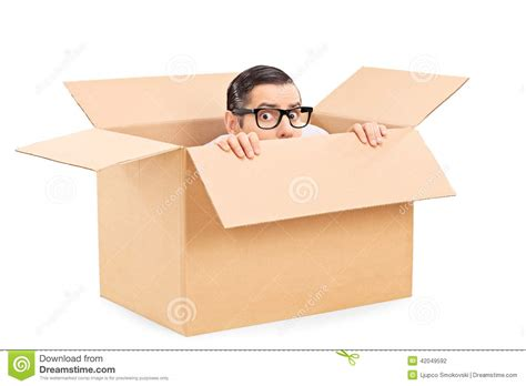 in a box scared hiding in a box stock photo image of