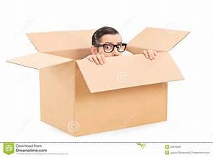 Scared Man Hiding In A Carton Box Stock Photo - Image of ...