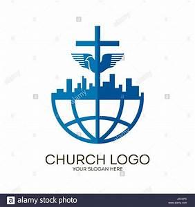 Church logo. Christian symbols. Jesus' cross and dove ...
