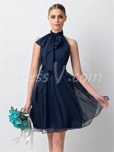 Navy Blue Chiffon Short Bridesmaid Dresses 2016 Simple ...