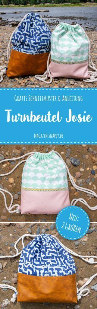 taschen nähen anleitung kostenloses schnittmuster turnbeutel josie und big josie