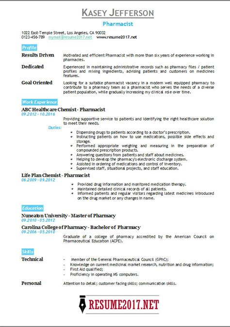 Exle Pharmacist Resume by Pharmacist Resume 2017 Templates