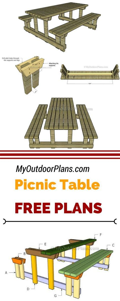picnic table  detached benches plans woodworking