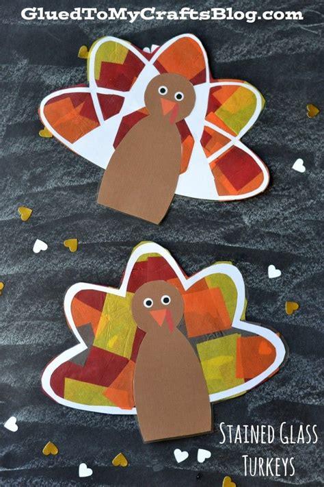 stained glass turkeys  printable kid craft