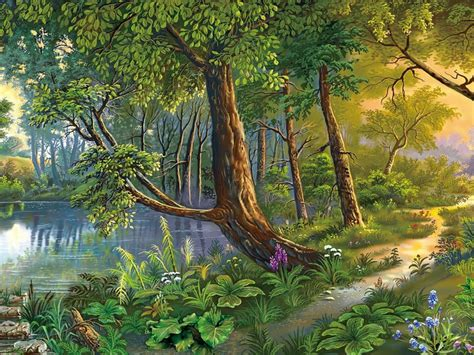 beautiful landscape nature art river trees flowers hd