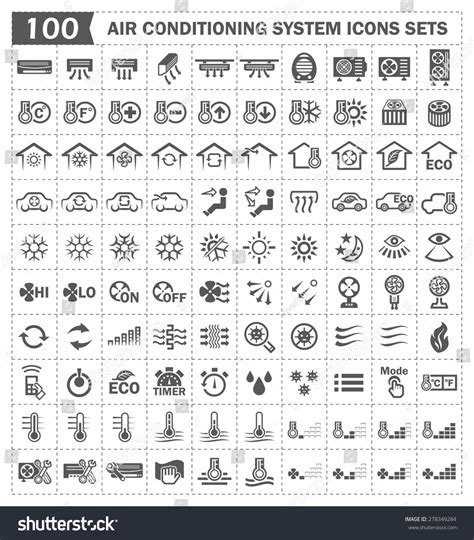 Car Warning Light Meanings by Air Conditioning System Or Hvac System Vector Icons Sets