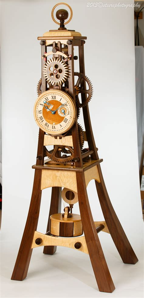 wooden clock designed  built  charles
