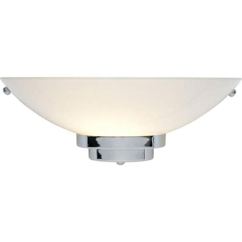 art deco wall light with opal glass wall washer shade on