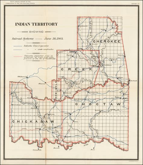 united states department of interior bureau of indian affairs indian territory showing railroad systems june 30 1903