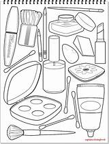 Coloring Accessories Makeup Nail Polish Draw Lip Lipstick Mirror sketch template