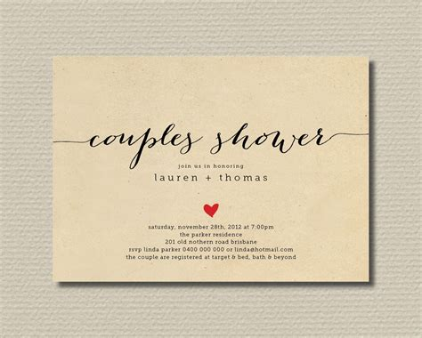 Printable Couples Shower Invitation Simple & By Rosiedaydesign