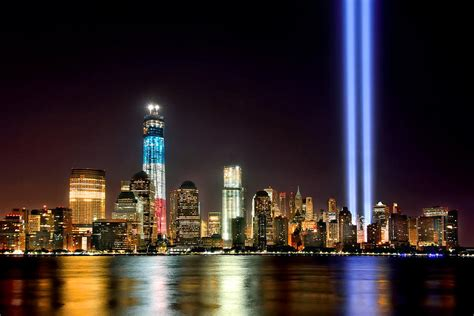 new york city skyline tribute in lights and lower