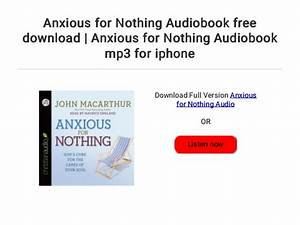 Anxious For Nothing Audiobook Free Download