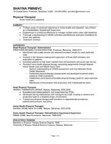 physical therapist resume exles resume sles