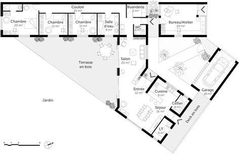 plan maison plain pied 3 chambres 1 bureau plan maison moderne en v ooreka
