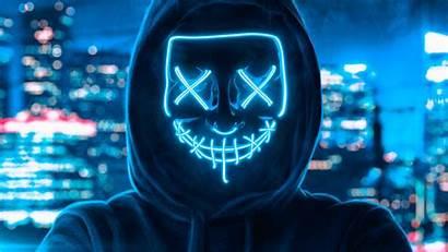 Mask Hoodie Wallpapers Guy 4k Boy Neon