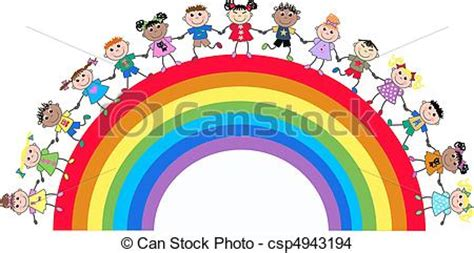 Teamwork Artwork by Drawing Of Ethnic Mixed Kids On A Rainbow Csp4943194