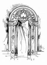 Curtain Curtains Stamp Digital French Illustration 1913 Really Did Pretty sketch template
