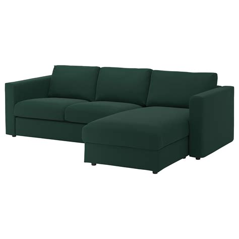 chaises ikéa vimle 3 seat sofa with chaise longue gunnared green