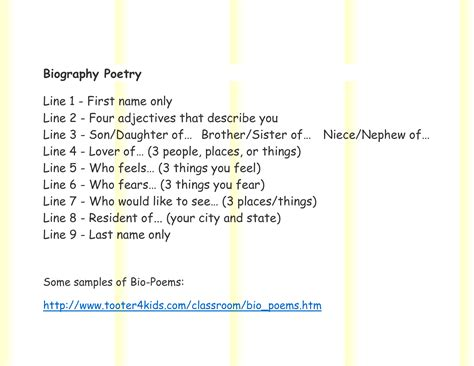 bio poem template best photos of personal poem template bio poem exles for bio poem template printable
