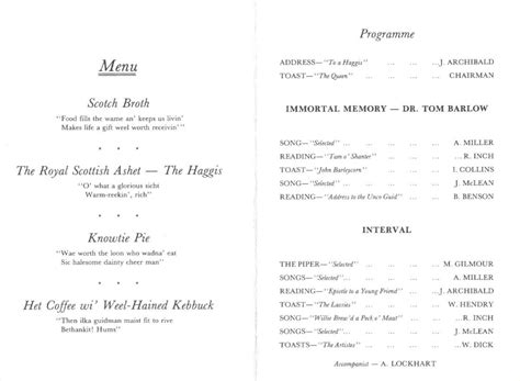 Burns Supper Menu Template by Burns Supper Format Pictures To Pin On Pinsdaddy