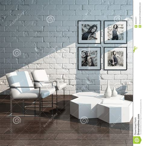 minimalist living room interior  brick wall stock