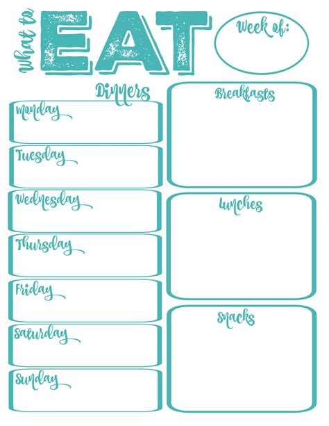 pantry makeover printable weekly meal planner
