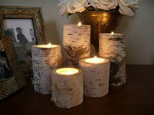 Birch bark log candleholders by michigan wood crafts for Kitchen cabinets lowes with birch log candle holders