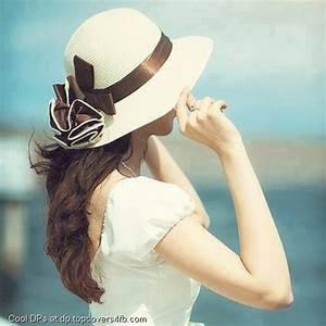 Stylish White Hat Girl whatsapp dp - Best Pics