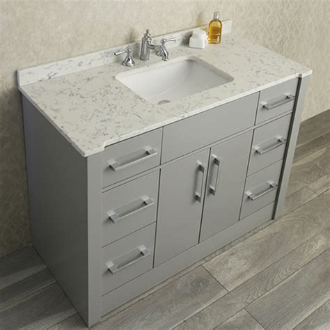 """Ace 48"""" Single Sink Bathroom Vanity Set Taupe Grey Finish. Quartz Versus Granite Countertops. Wood And Iron Chandelier. Countertop Edge Types. Indian Decor. Industrial Chic Chandelier. Caned Chairs. White Shutters. Modern Barn Doors"""
