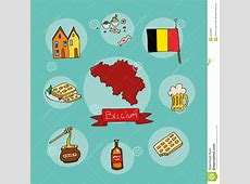 The Set Of National Profile Of The Belgium Stock Vector