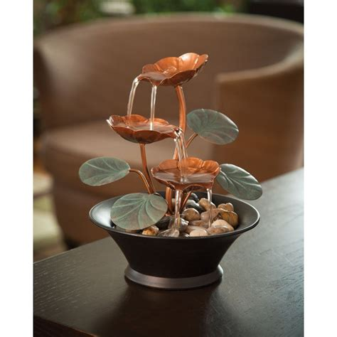 indoor tabletop fountains with water lily design decor