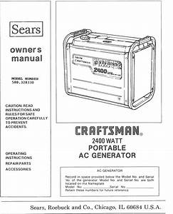 Craftsman 580328330 User Manual 2400 Watt Ac Generator