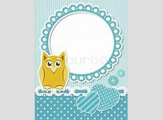 Baby owl blue scrapbook frame Stock Vector Colourbox