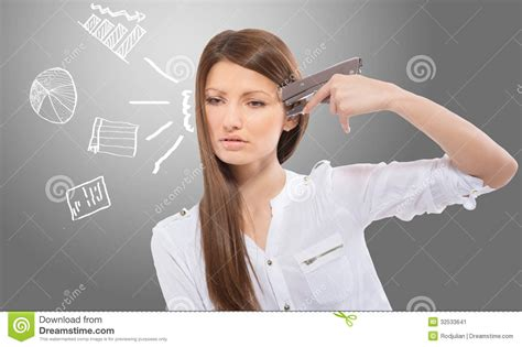 Desperate Office Lady With The Drawn Charts, Gray Background Stock Image - Image: 32533641