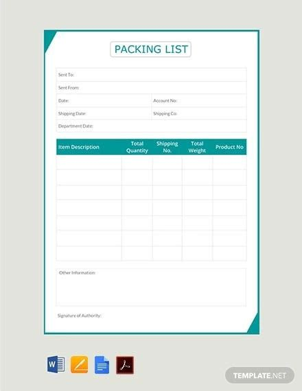 packing slip template excel collection