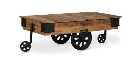 Vintage Industrial Wheel Coffee Table Wood