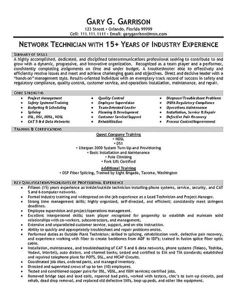 Telecom Technician Resume by Telecom Technician Resume Exle