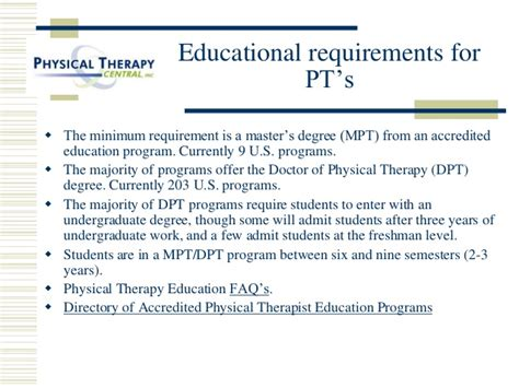 Career Requirements by A Career In Physical Therapy Ou Hes 2010