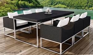 Table De Jardin Tressé : ensemble de salon de jardin en rsine tresse noire design ~ Nature-et-papiers.com Idées de Décoration