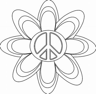 Coloring Peace Sign Flower Clipart Tattoo Symbol