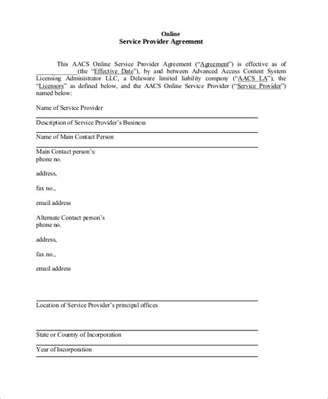 sample service agreement templates   ms