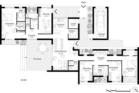 plan maison plain pied 6 chambres plan maison de plain pied avec suite parentale ooreka
