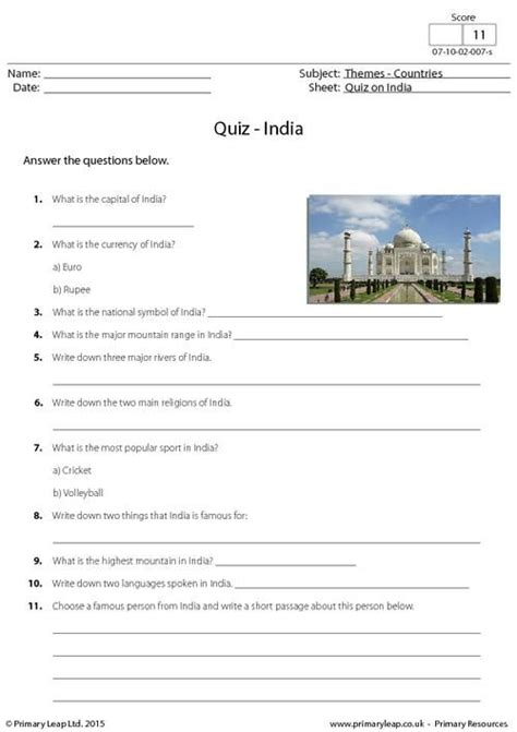 primaryleap co uk quiz on india worksheet geography