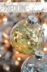 diy christmas ornament craft sequins in clear glass fox hollow cottage