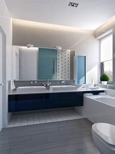 Modern vibrant blue bathroom 1 interior design ideas for Blue and gray bathroom designs